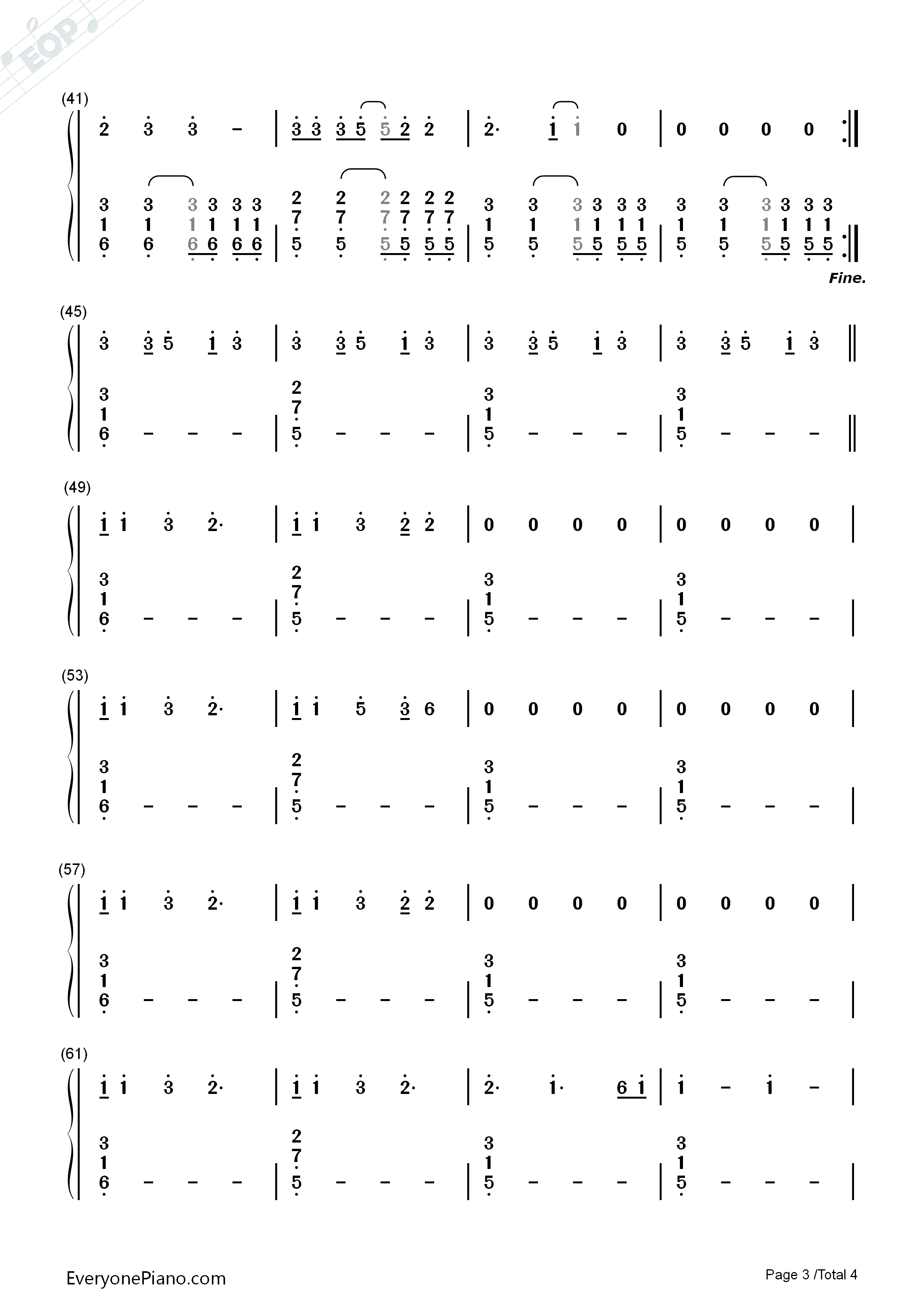 Riptide-Vance Joy Numbered Musical Notation Preview 3-Free Piano Sheet Music u0026 Piano Chords
