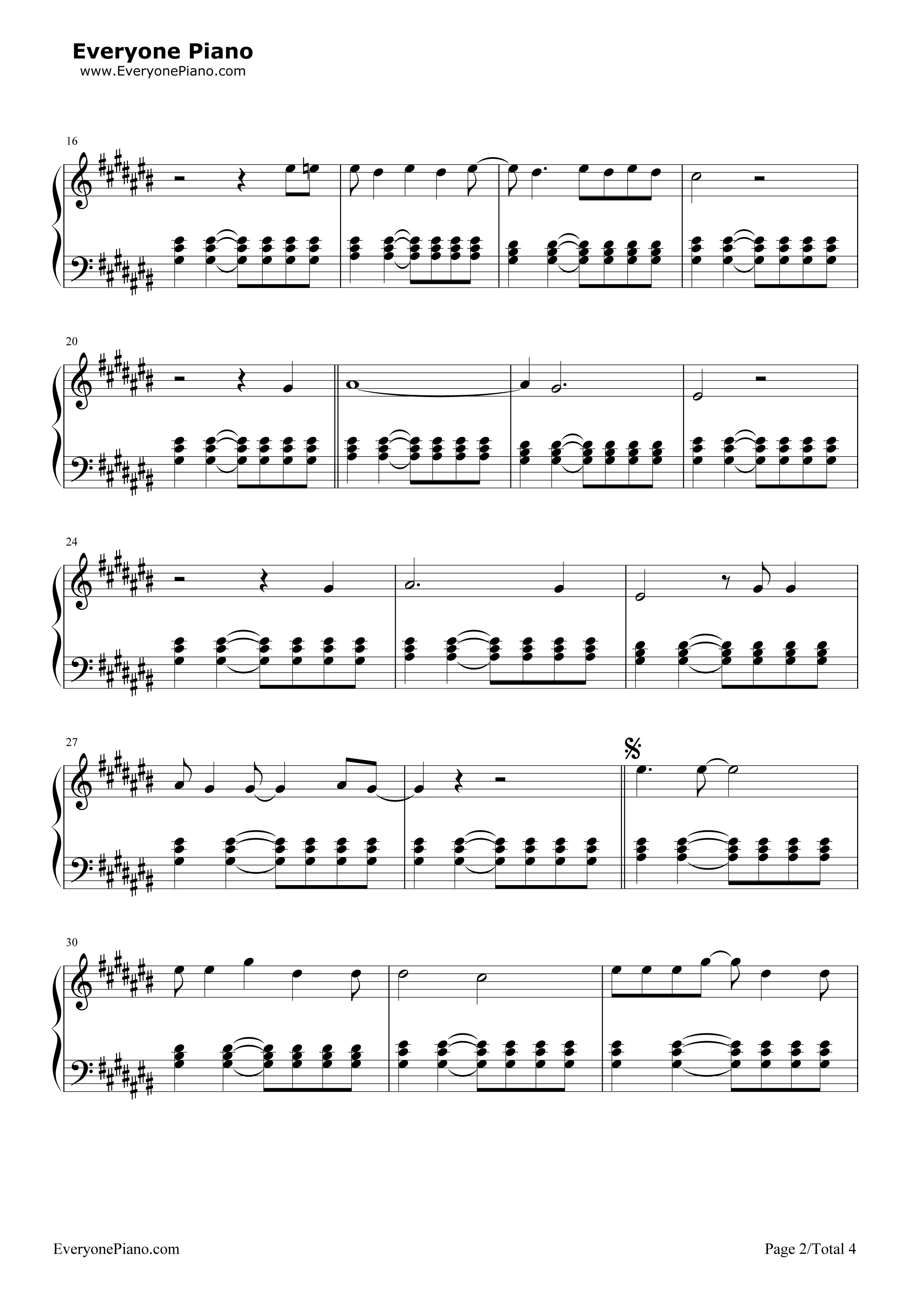 Riptide-Vance Joy Stave Preview 2-Free Piano Sheet Music u0026 Piano Chords