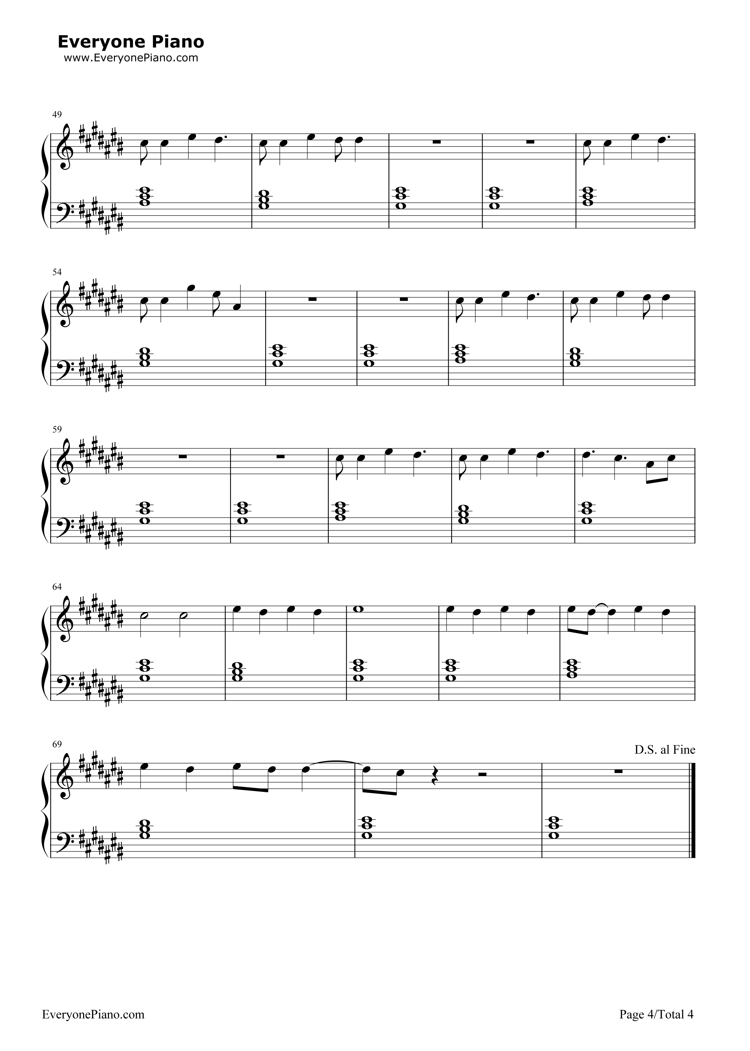 Riptide-Vance Joy Stave Preview 4-Free Piano Sheet Music u0026 Piano Chords