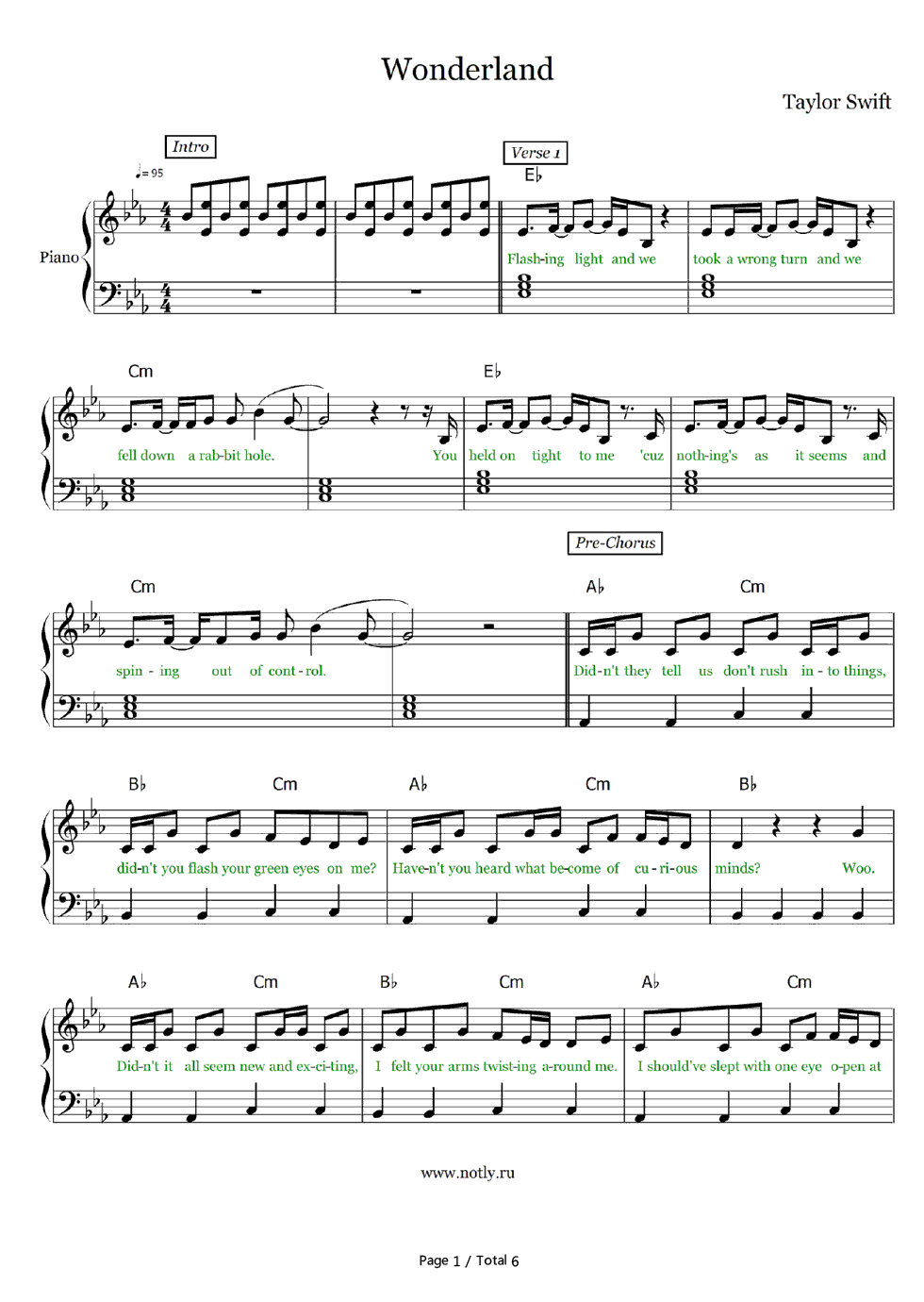 Wonderland-Taylor Swift Stave Preview 1- Free Piano Sheet Music u0026 Piano Chords