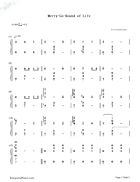 Merry-Go-Round of Life-Howl's Moving Castle Theme-Numbered-Musical-Notation-Preview-1
