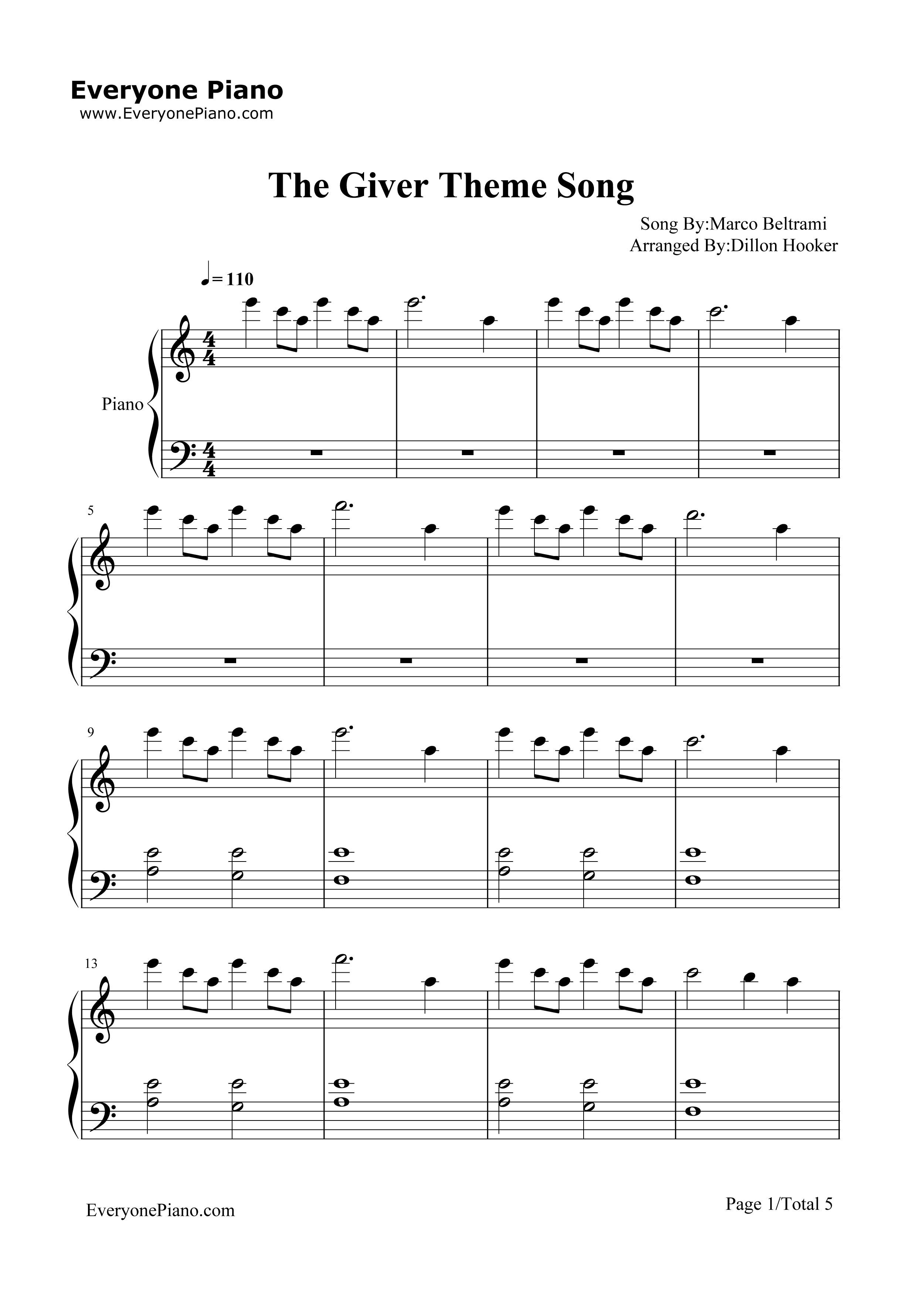 Rosemary's Song-The Giver Theme Free Piano Sheet Music & Piano Chords