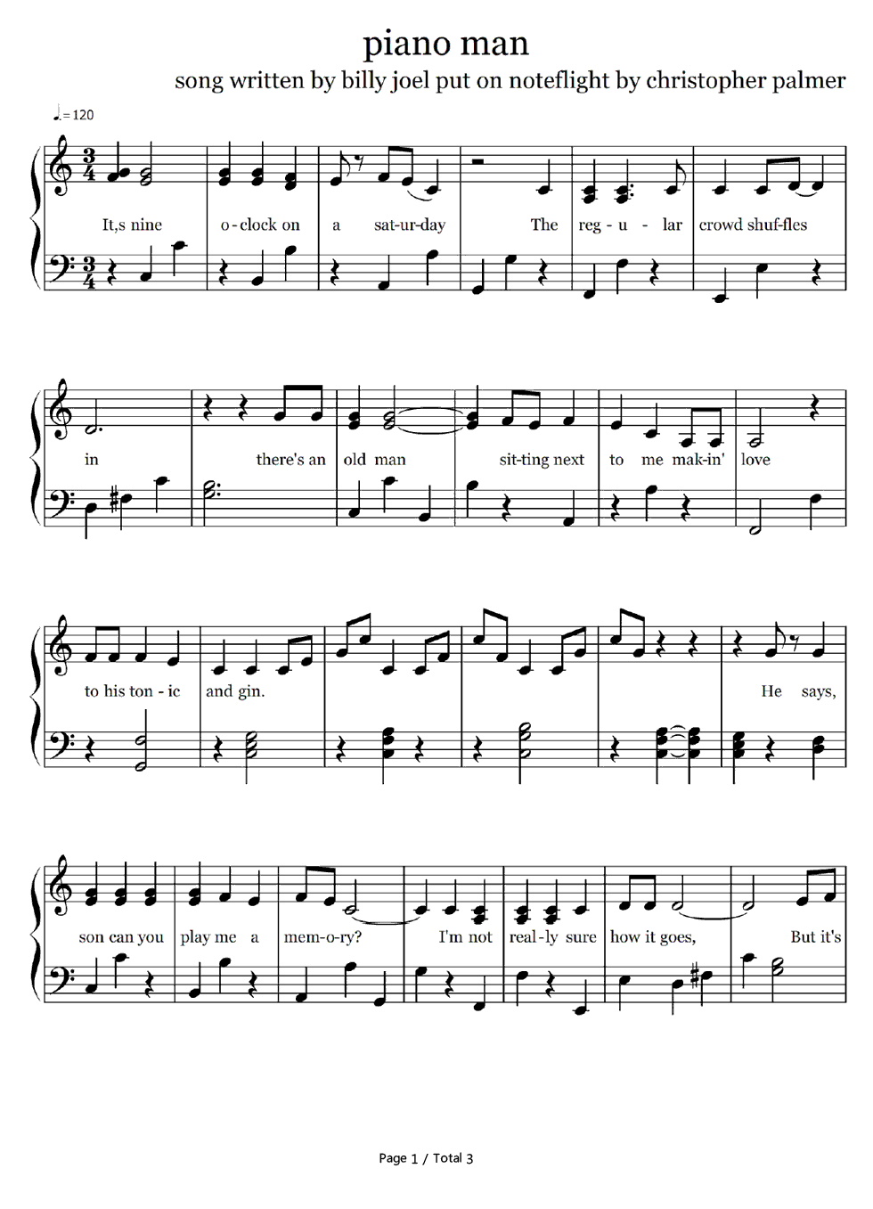 Piano Chords For Piano Man Billy Joel Piano Man Simple Version Billy