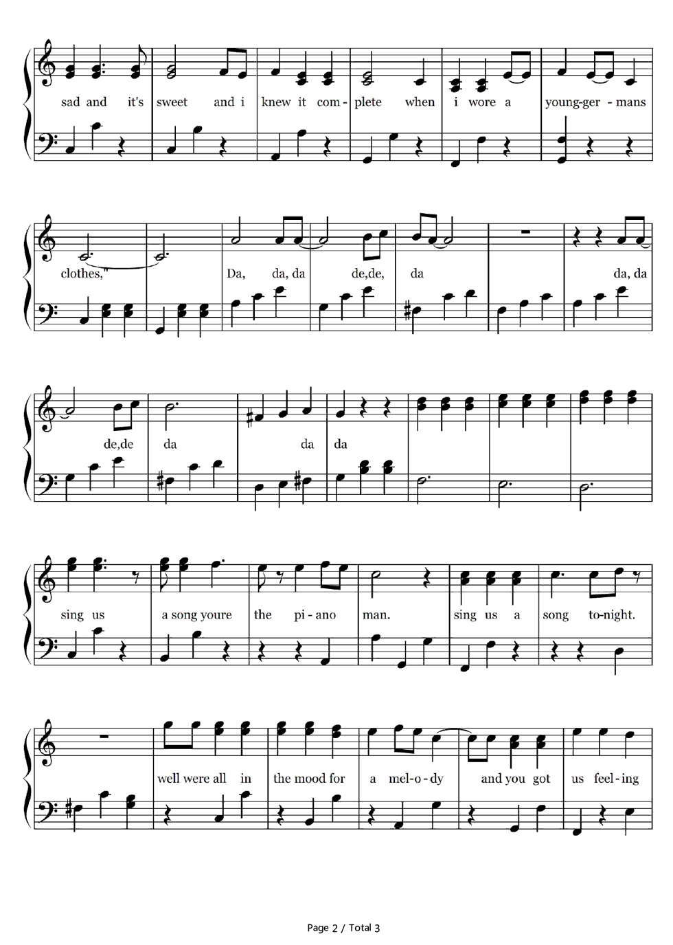 Piano Man-Simple Version-Billy Joel Stave Preview 2- Free Piano Sheet Music u0026 Piano Chords