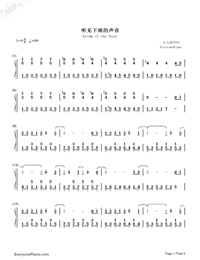 Rythm of the Rain-Rythm of the Rain Theme-Numbered-Musical-Notation-Preview-1