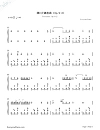 Nocturne in E-flat major Op. 9 No. 2-Numbered-Musical-Notation-Preview-1