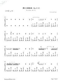 夜想曲第2番-Nocturne Op.9-2-ノクターン Op.9-2両手略譜プレビュー1