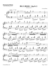 Nocturne in E-flat major Op. 9 No. 2 Stave Preview 1