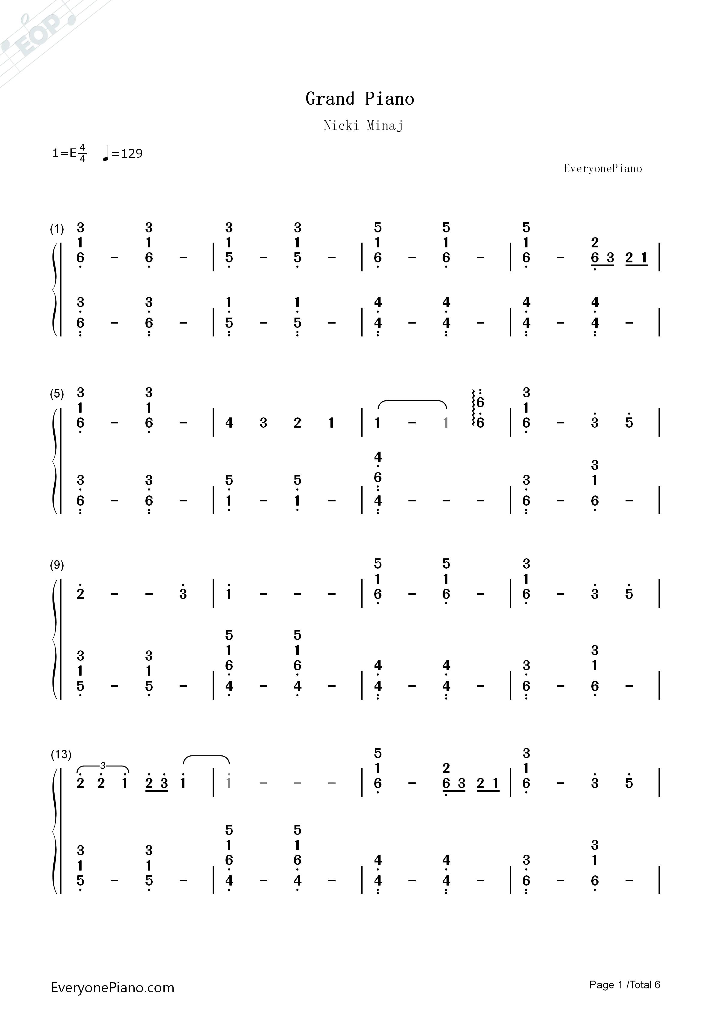 Grand Piano Nicki Minaj Numbered Musical Notation Preview