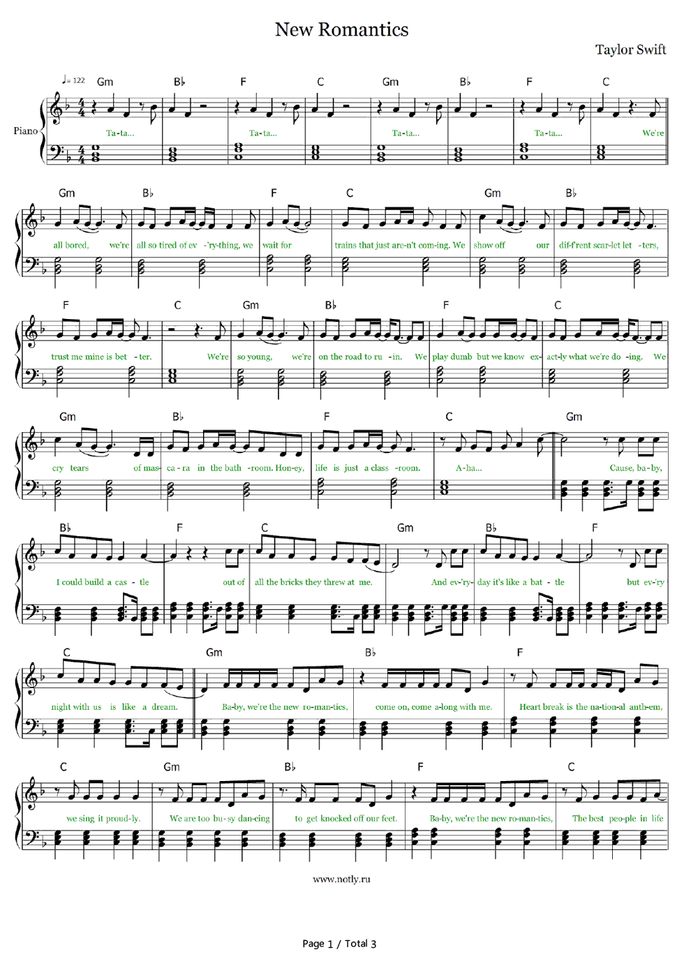 New romantics taylor swift stave preview 1 free piano sheet music listen now print sheet new romantics taylor swift stave preview 1 hexwebz Choice Image