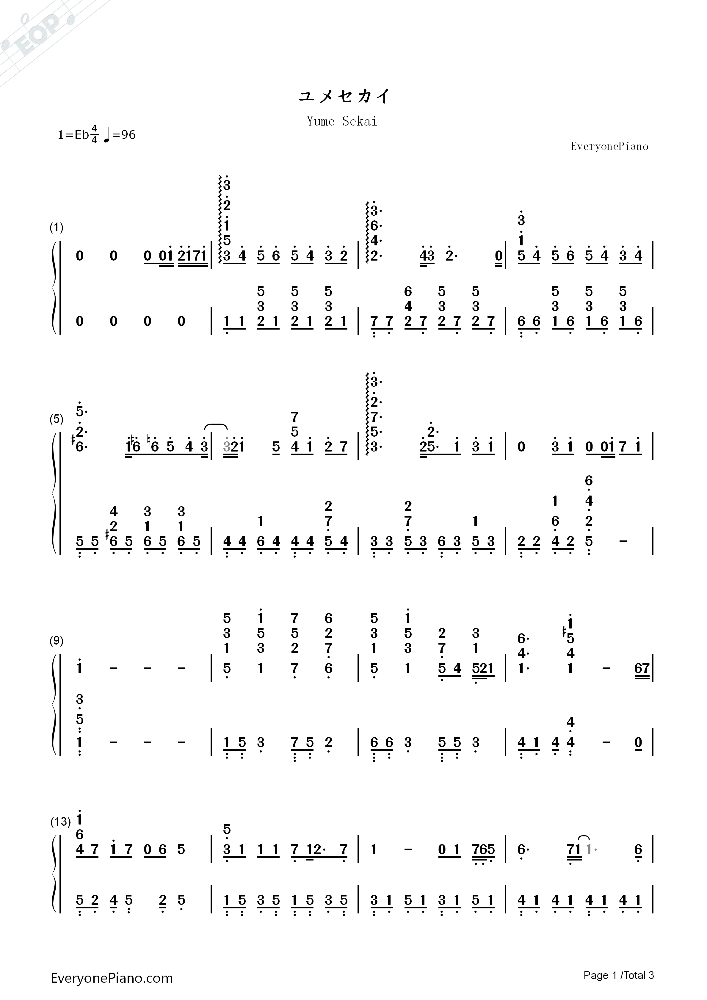 Yume Sekai-Sword Art Online ED1 Numbered Musical Notation Preview 1