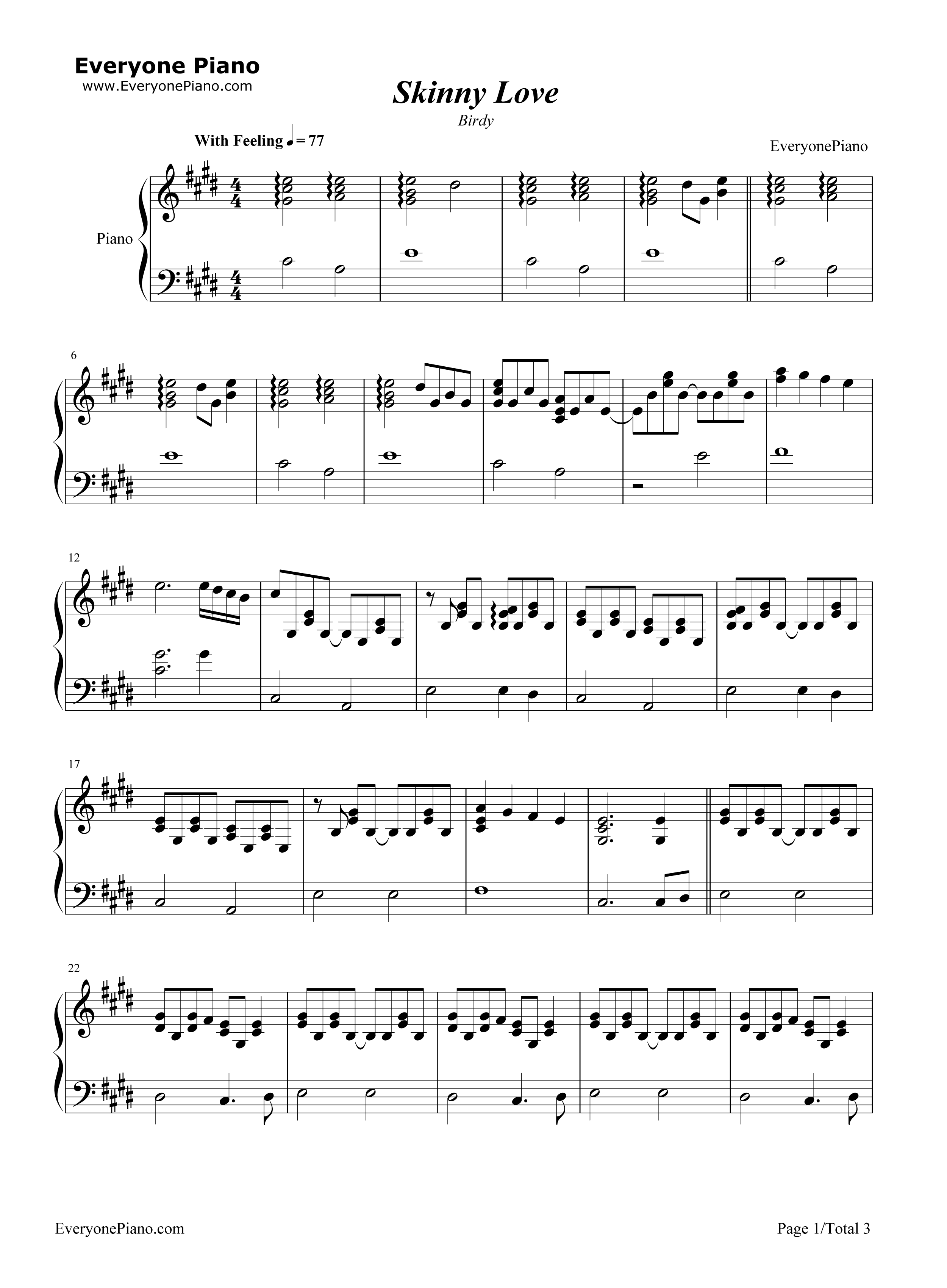 Skinny Love-Birdy Stave Preview 1-Free Piano Sheet Music u0026 Piano Chords