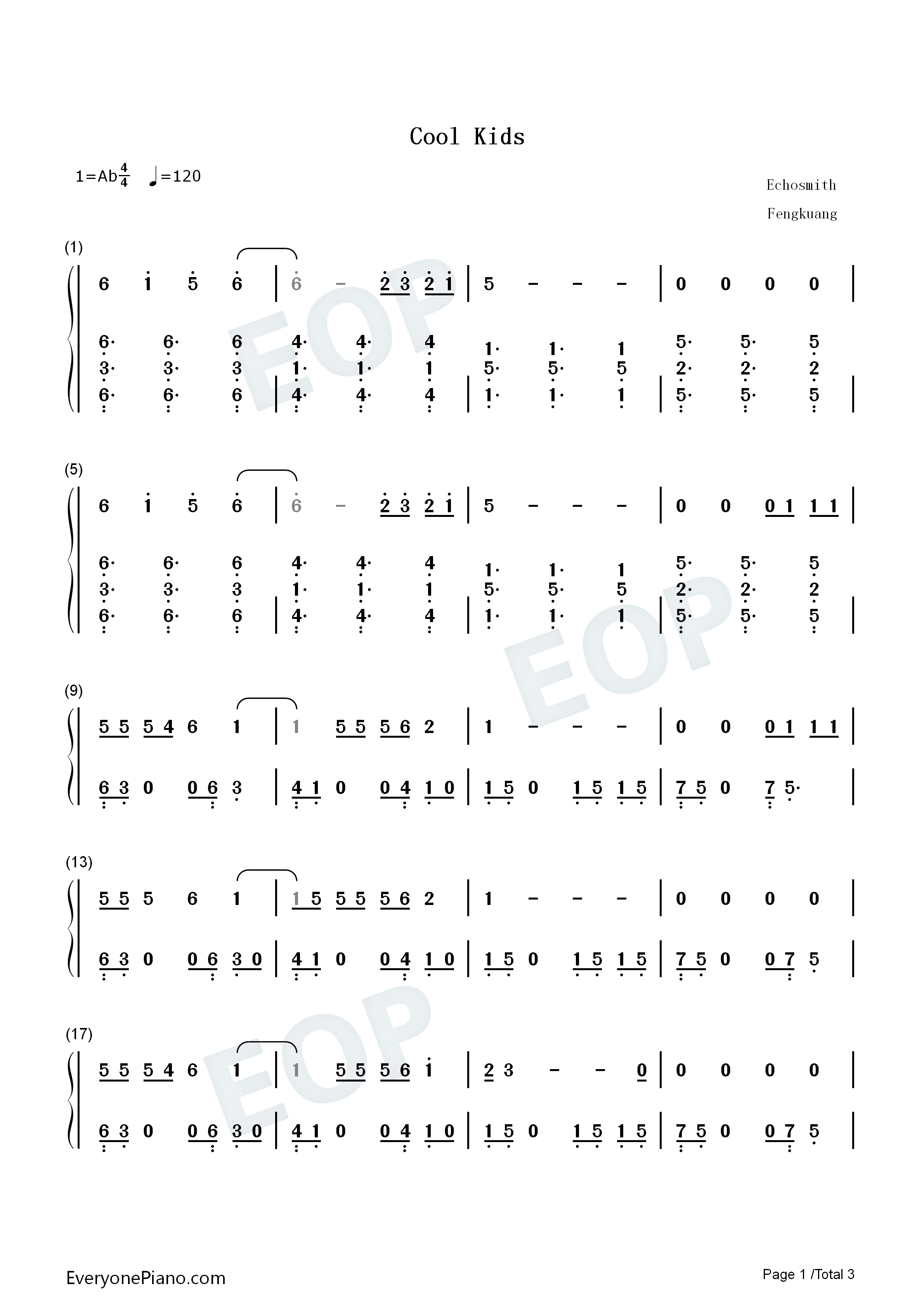 Cool Kids-Echosmith Numbered Musical Notation Preview 1-Free Piano Sheet Music u0026 Piano Chords