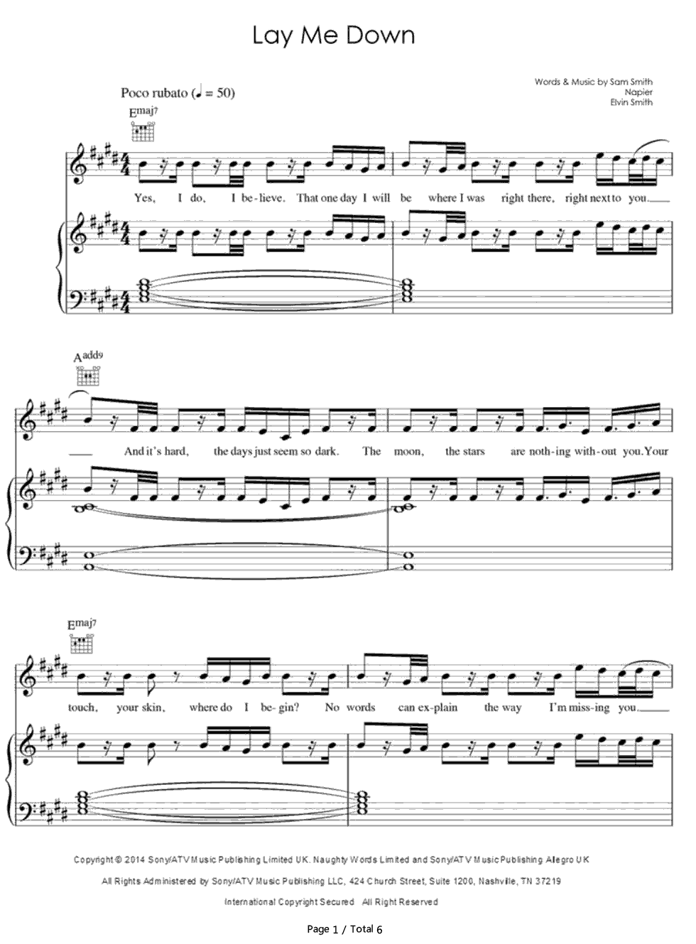 Lay me down sam smith stave preview 1 free piano sheet music listen now print sheet lay me down sam smith stave preview 1 hexwebz Choice Image