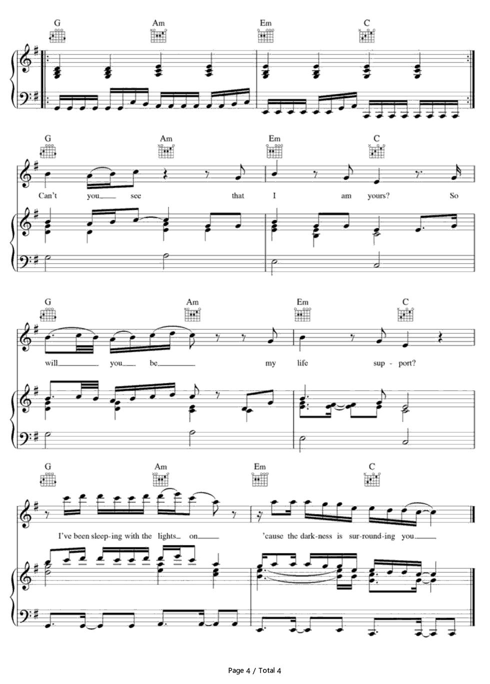 Life support sam smith free piano sheet music piano chords life support sam smith stave preview 4 hexwebz Image collections