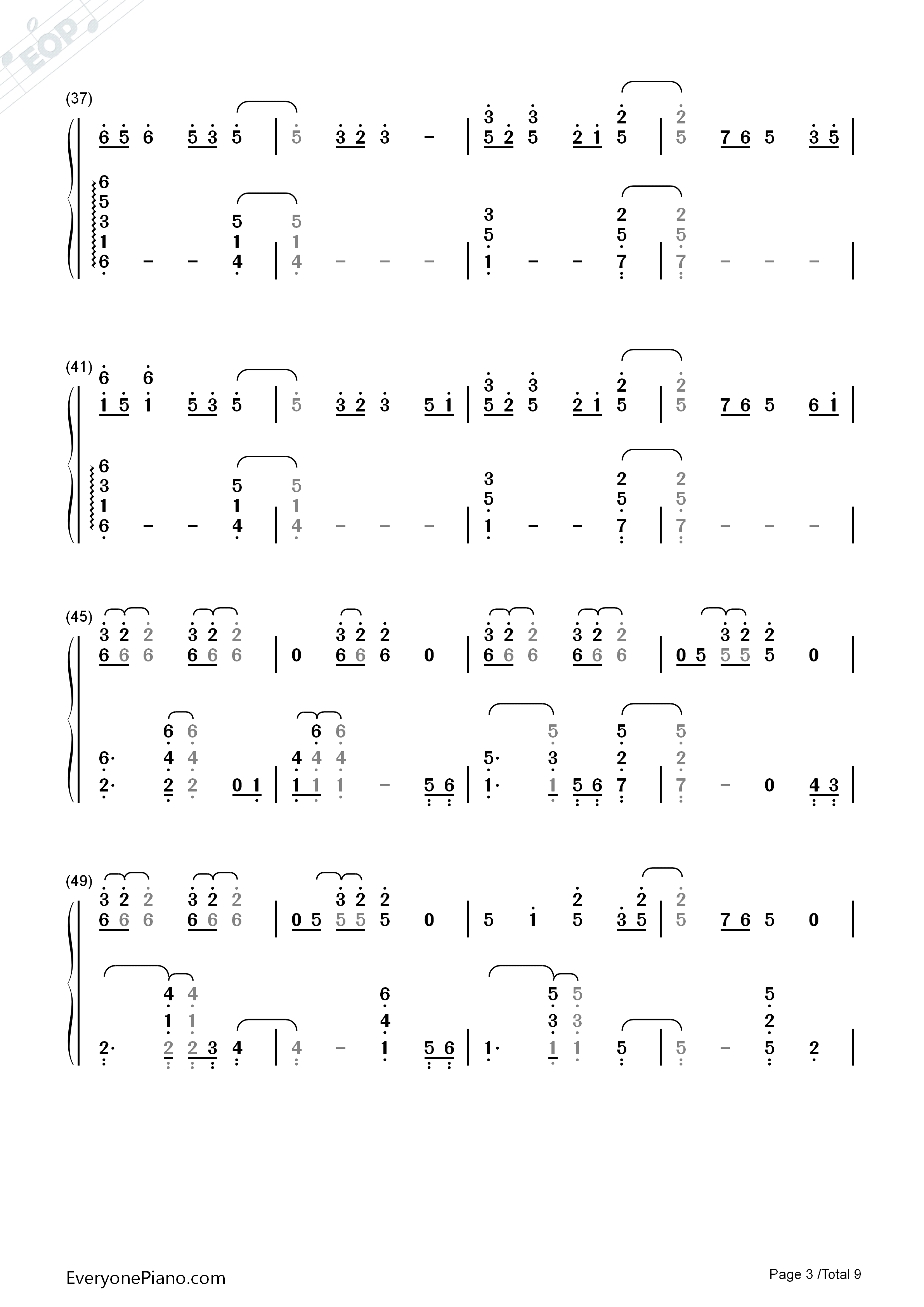 Paradise-Coldplay Numbered Musical Notation Preview 3