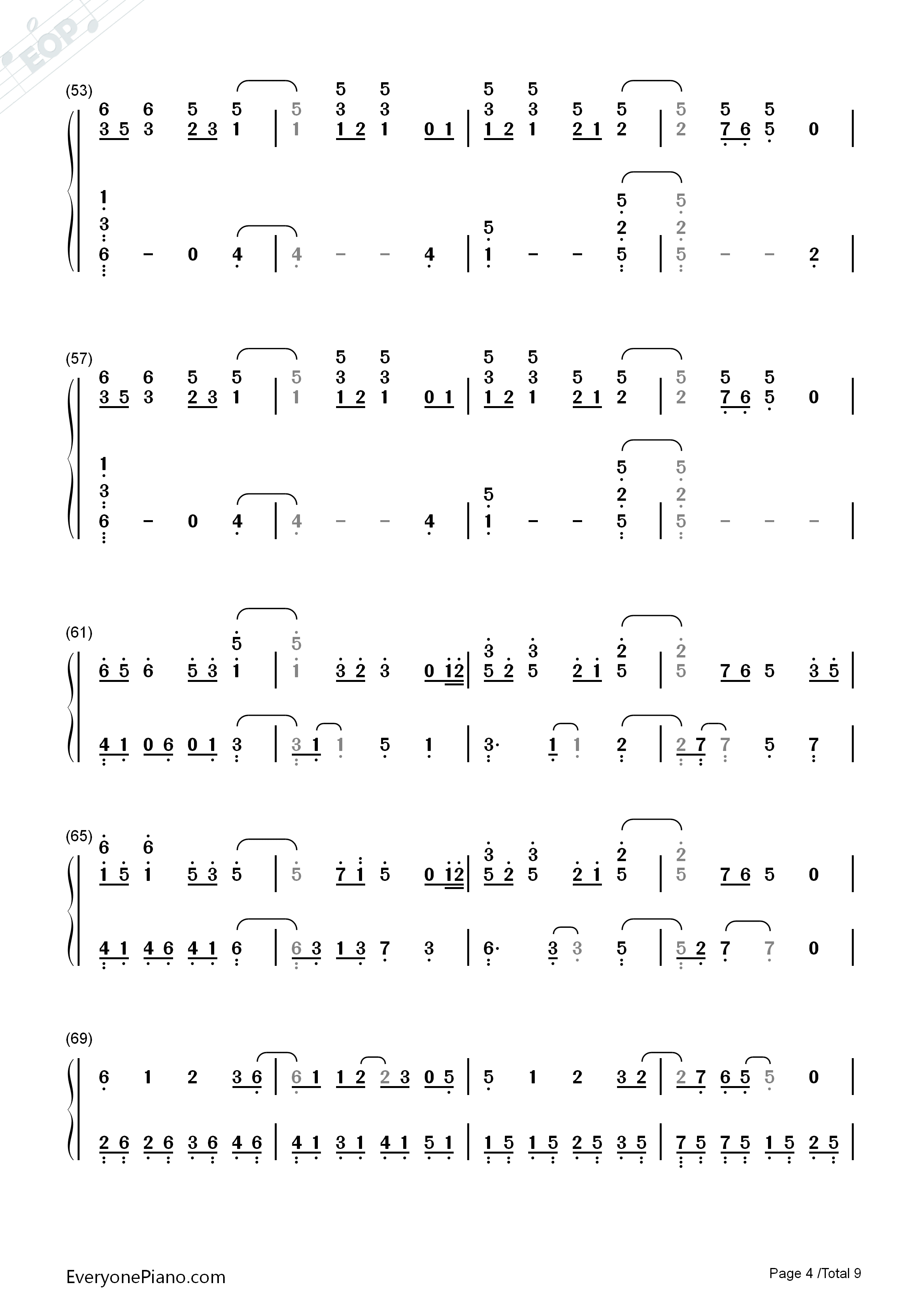 Paradise-Coldplay Numbered Musical Notation Preview 4