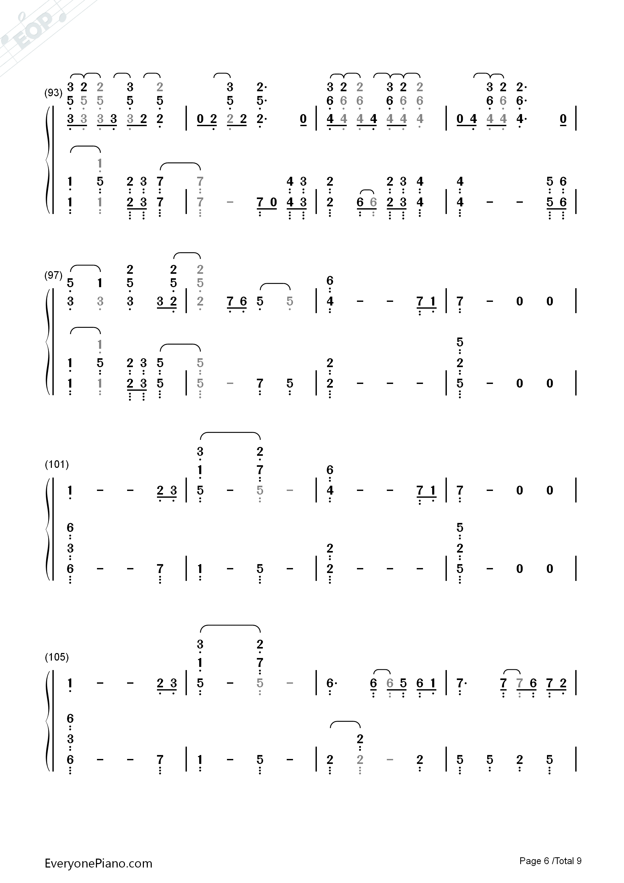 Paradise-Coldplay Numbered Musical Notation Preview 6