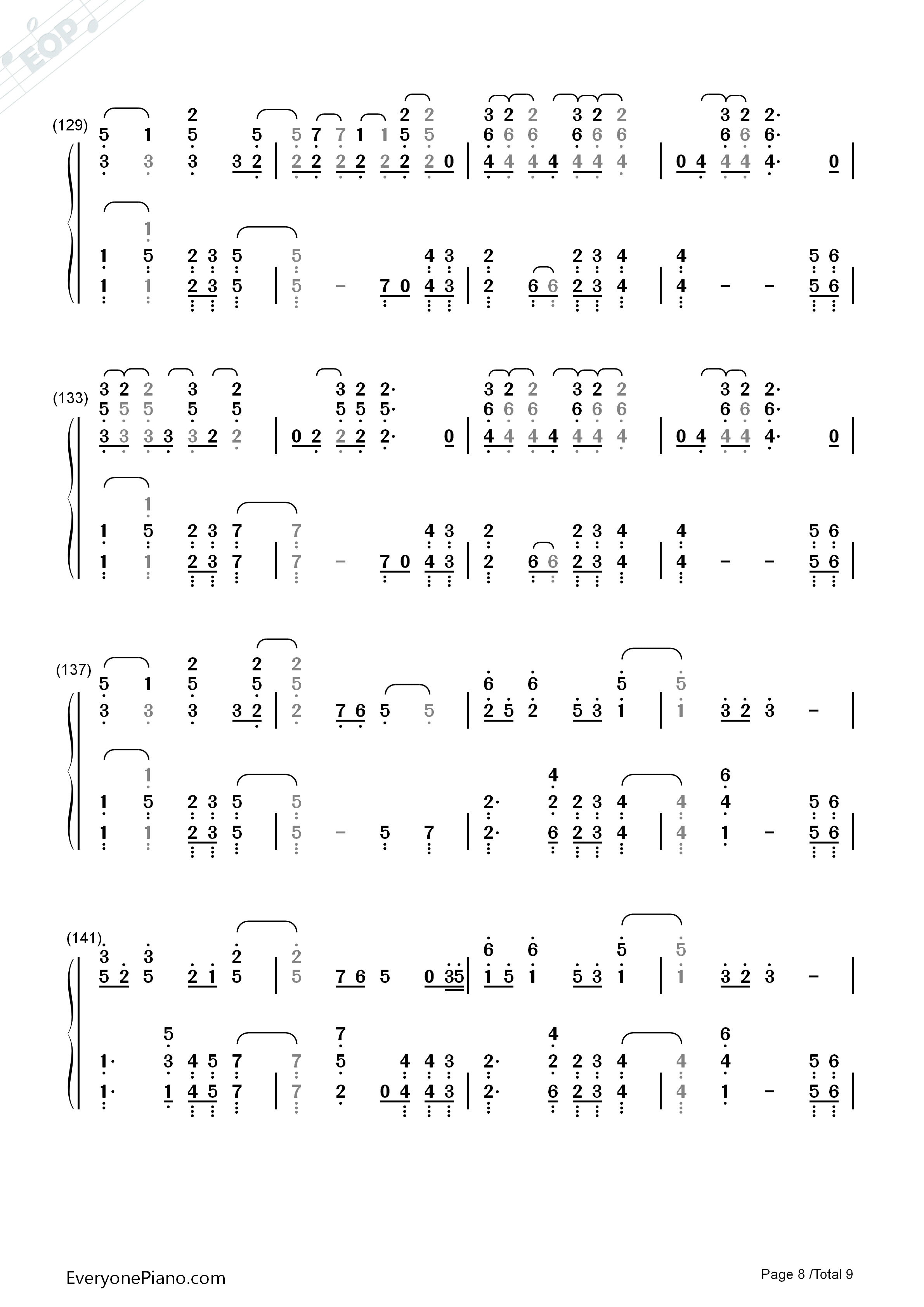 Paradise-Coldplay Numbered Musical Notation Preview 8