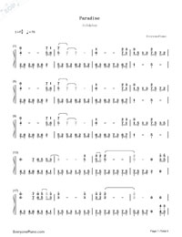 Paradise-Coldplay Numbered Musical Notation Preview 1