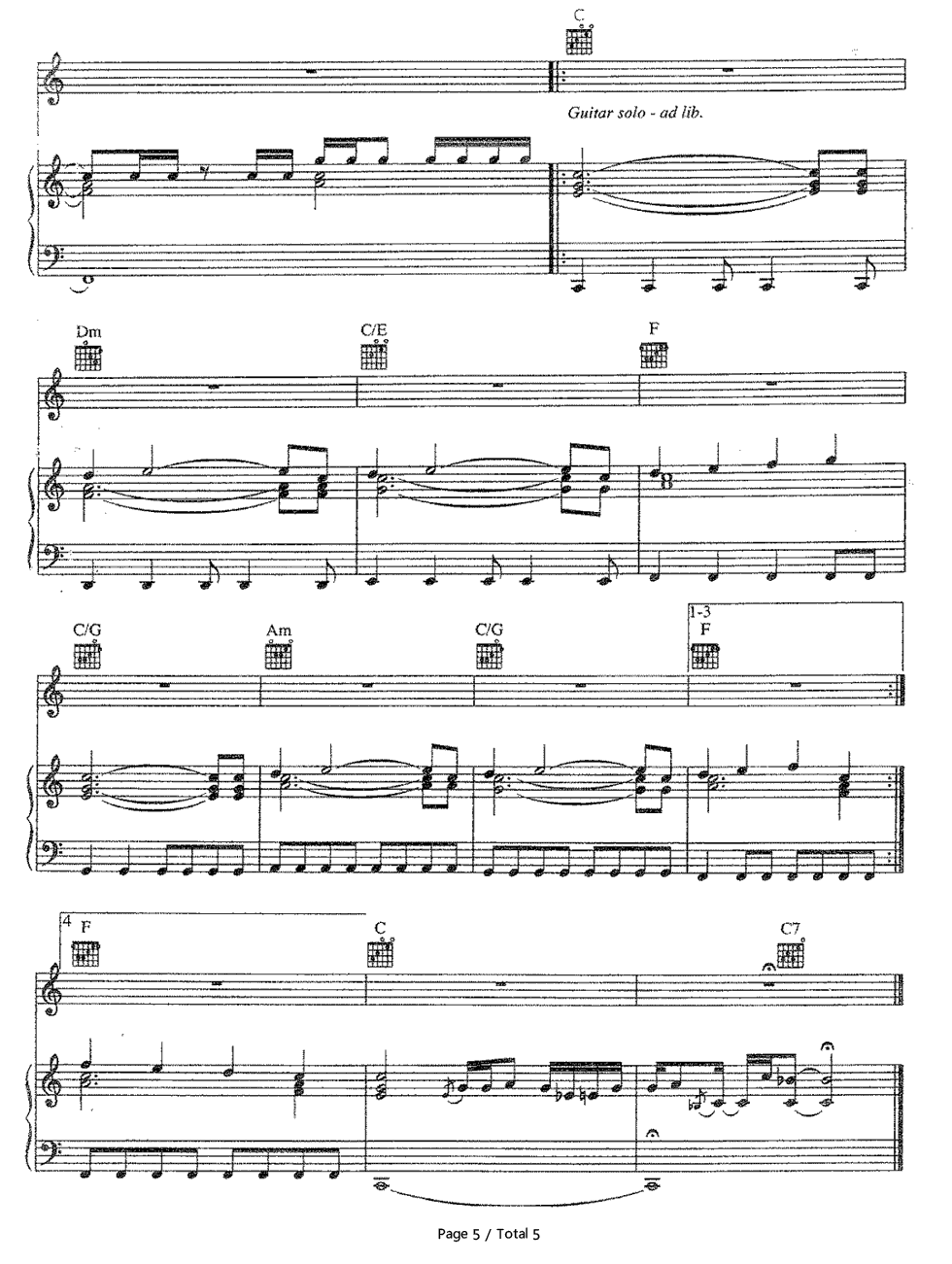 Amazing Aerosmith Stave Preview 5 Free Piano Sheet Music Piano Chords