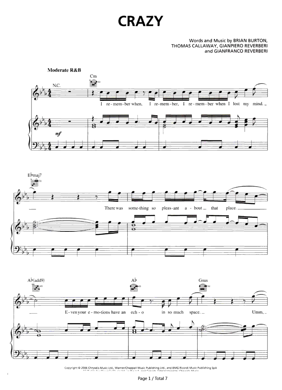 Crazy gnarls barkley stave preview 1 free piano sheet music listen now print sheet crazy gnarls barkley stave preview 1 hexwebz Image collections