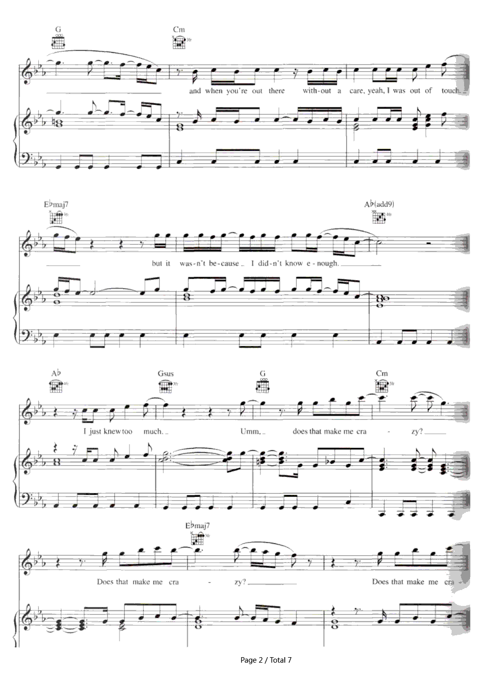 Crazy gnarls barkley stave preview 2 free piano sheet music listen now print sheet crazy gnarls barkley stave preview 2 hexwebz Image collections
