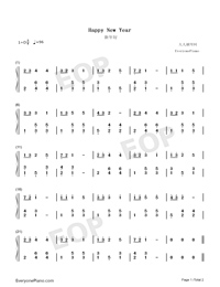 Happy New Year Children S Song Free Piano Sheet Music Piano Chords
