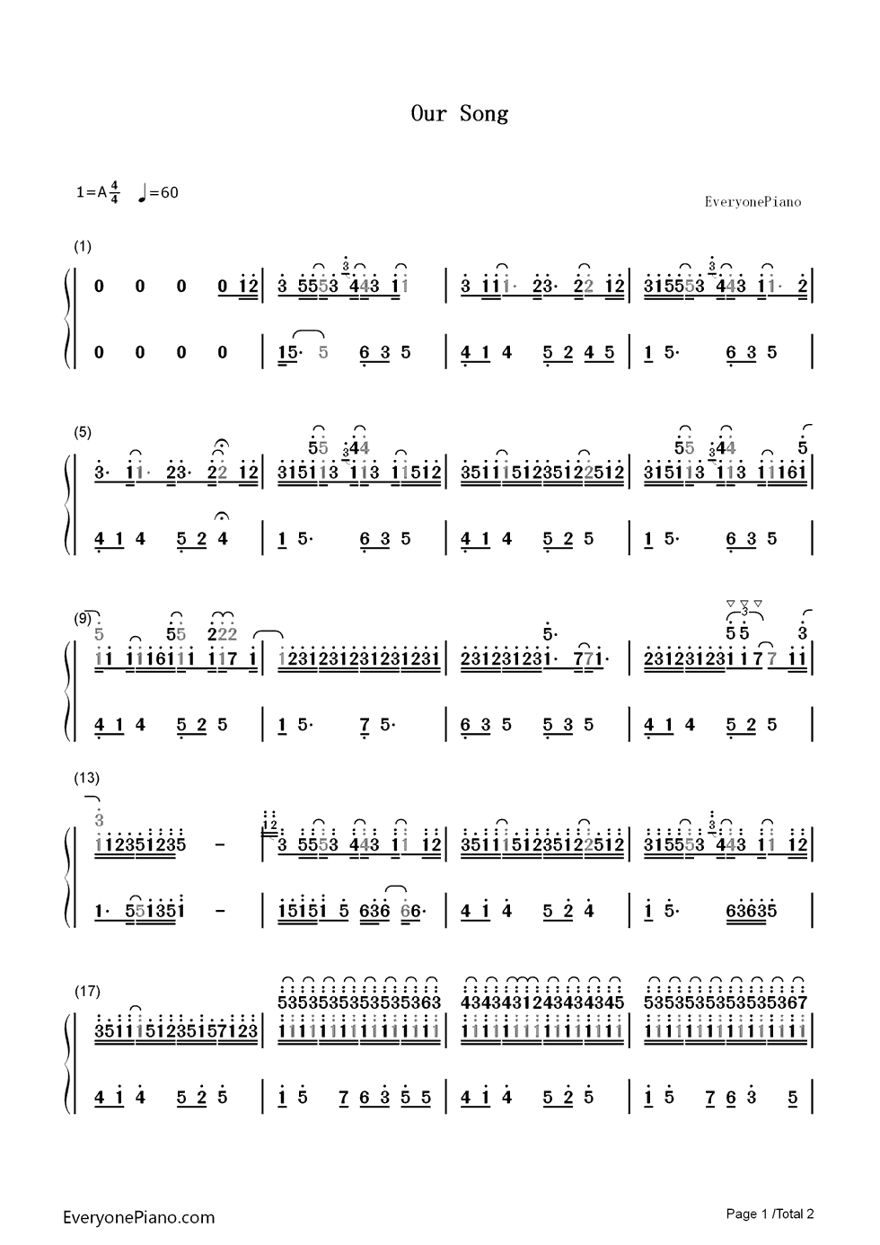 Our song taylor swift numbered musical notation preview 1 free listen now print sheet our song taylor swift numbered musical notation preview 1 hexwebz Choice Image