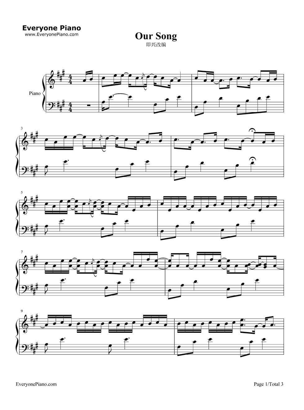 Our song taylor swift stave preview 1 free piano sheet music listen now print sheet our song taylor swift stave preview 1 hexwebz Choice Image