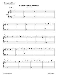 カノン-簡単版五線譜プレビュー1