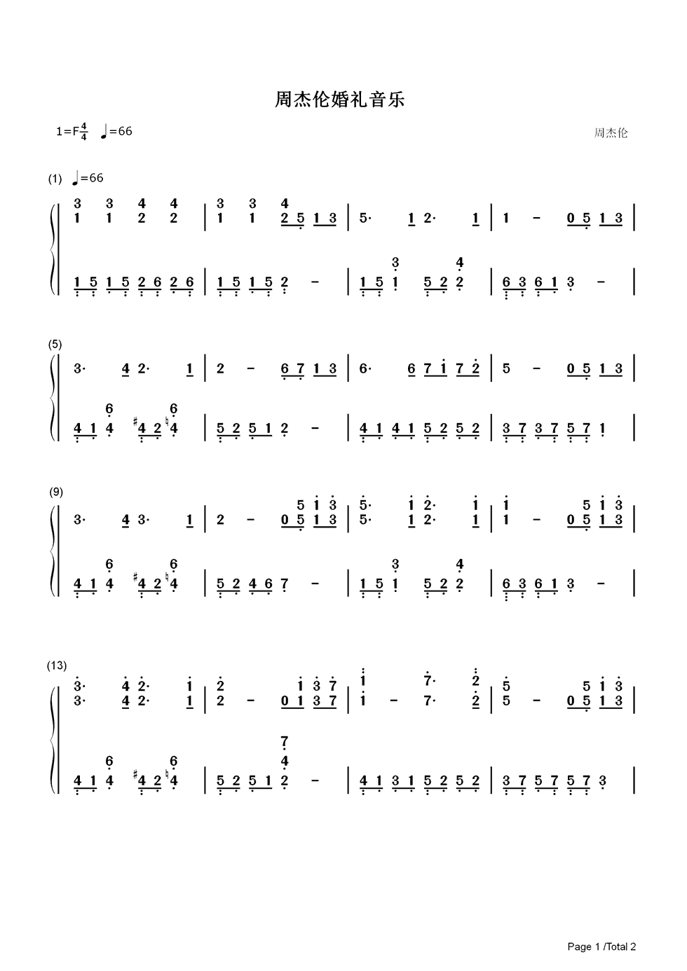 Listen Now Print Sheet Jay Chous Wedding Song Chou Numbered Musical Notation Preview 1