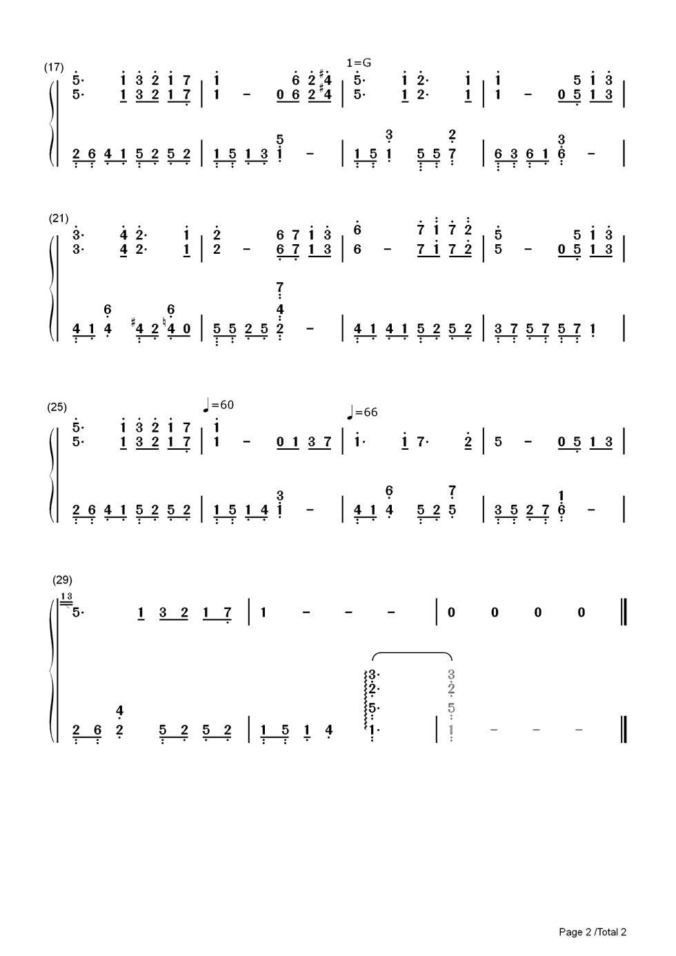 Listen Now Print Sheet Jay Chous Wedding Song Chou Numbered Musical Notation Preview 2