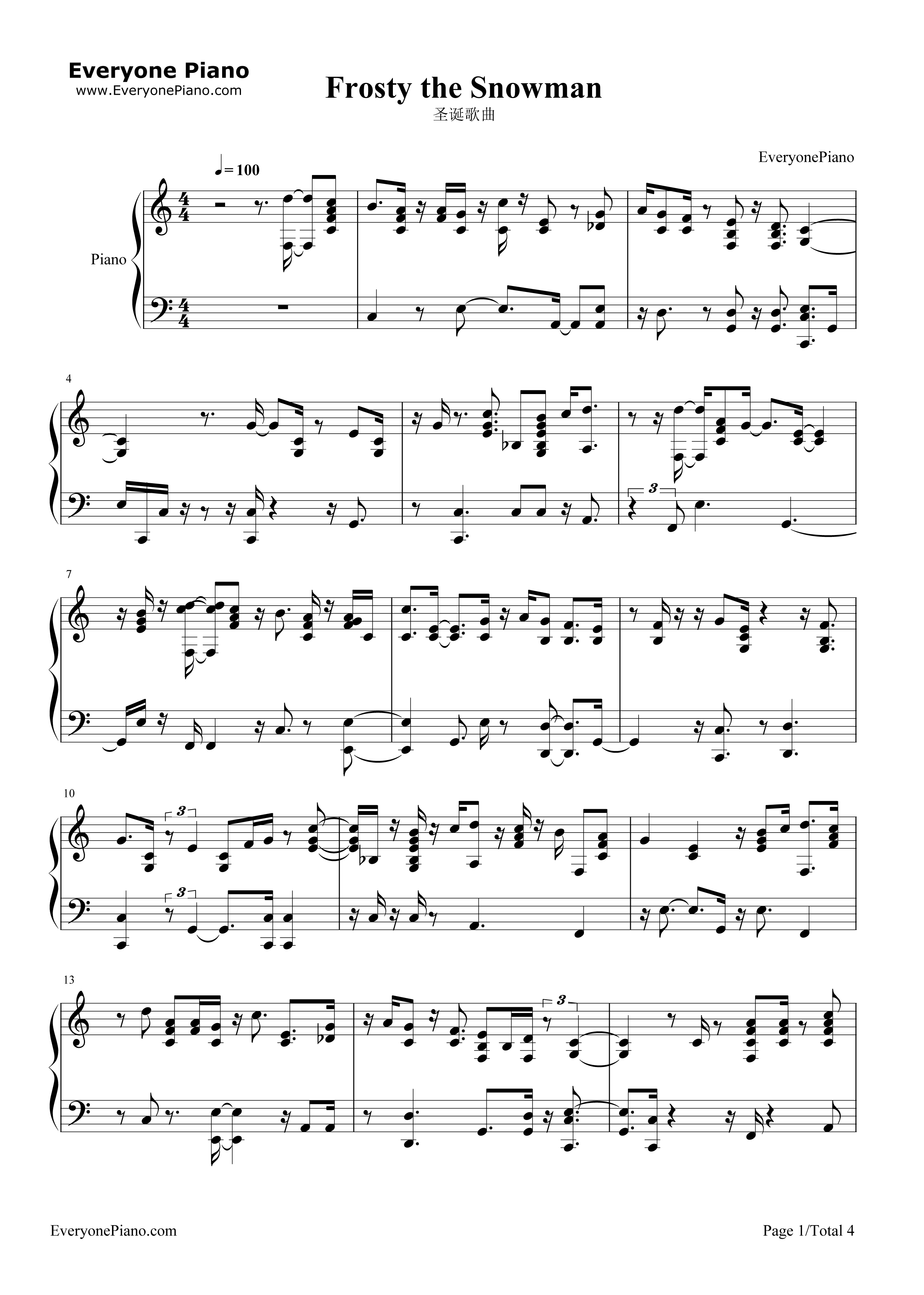 picture about Frosty the Snowman Sheet Music Free Printable called Frosty the Snowman-Xmas Track Stave Preview