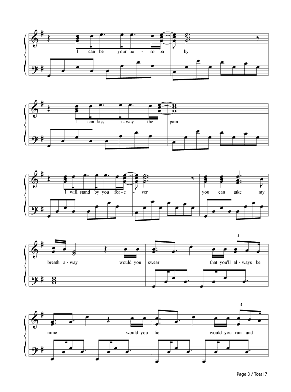 Contemporary Guitar Chords For Hero By Enrique Iglesias Mold