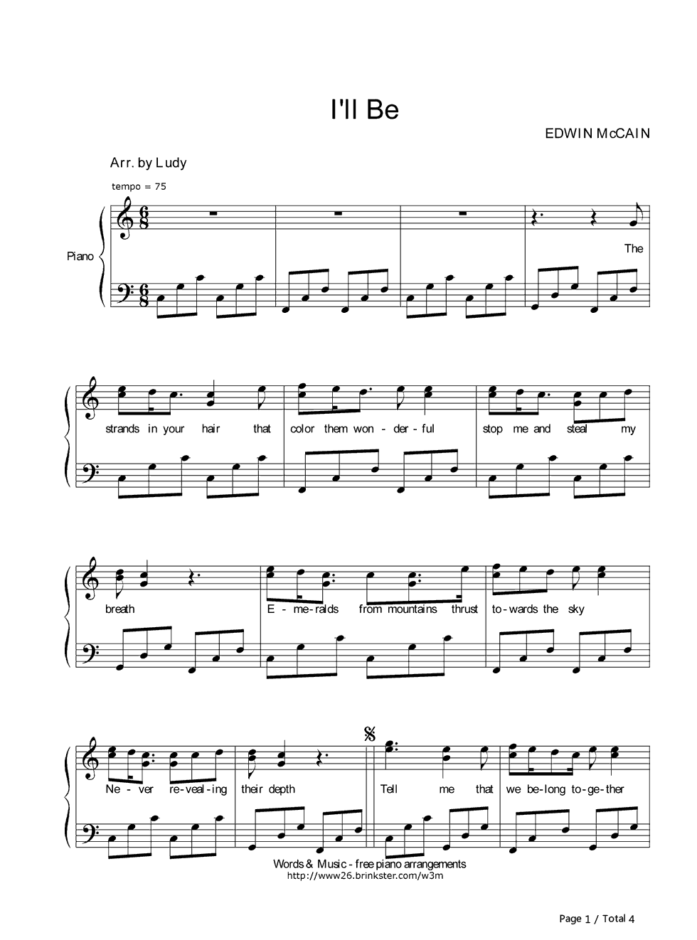 i ll be piano sheet music - Heart.impulsar.co