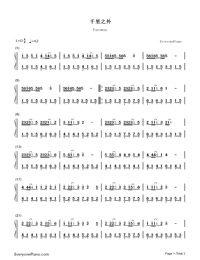 Faraway-Jay Chou-Numbered-Musical-Notation-Preview-1