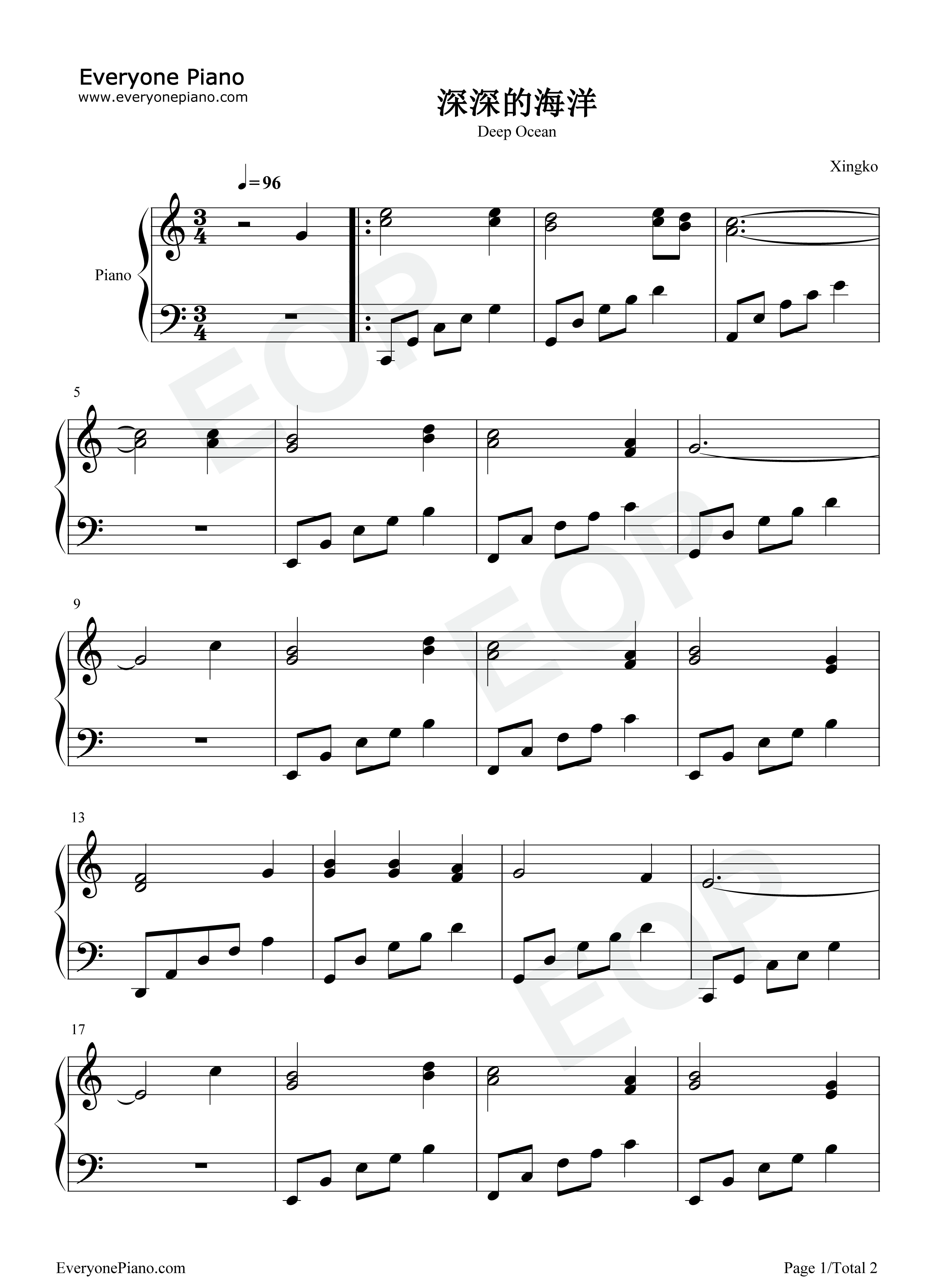 Deep Ocean-Yugoslav Folk Song Stave Preview 1-Free Piano Sheet Music u0026 Piano Chords
