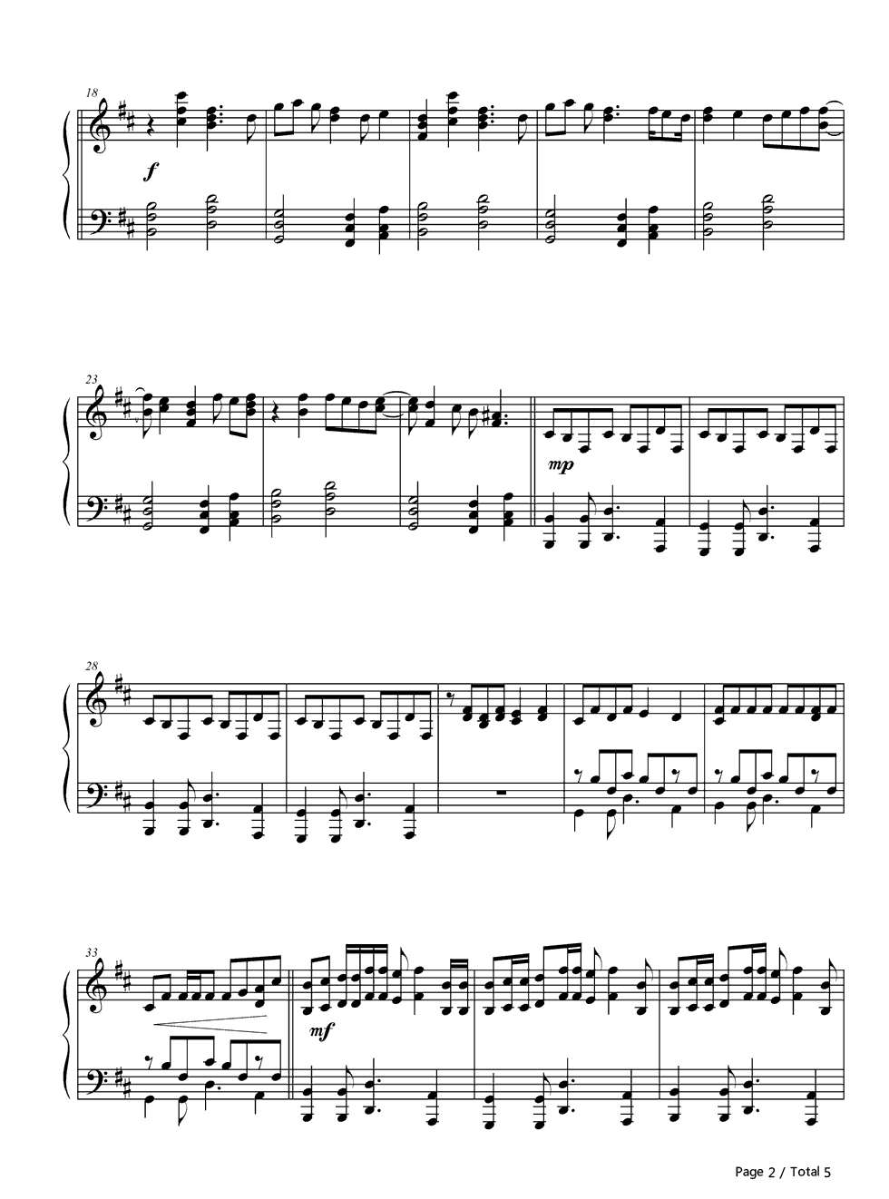 Dance Dance Fall Out Boy Stave Preview 2 Free Piano Sheet Music
