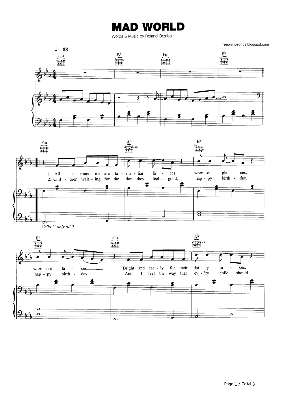 Mad World-Gary Jules Stave Preview 1-Free Piano Sheet Music u0026 Piano Chords
