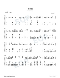 Your Love-Wang Leehom-Numbered-Musical-Notation-Preview-1