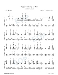 Happy Birthday to You-Jazz Version-Numbered-Musical-Notation-Preview-1