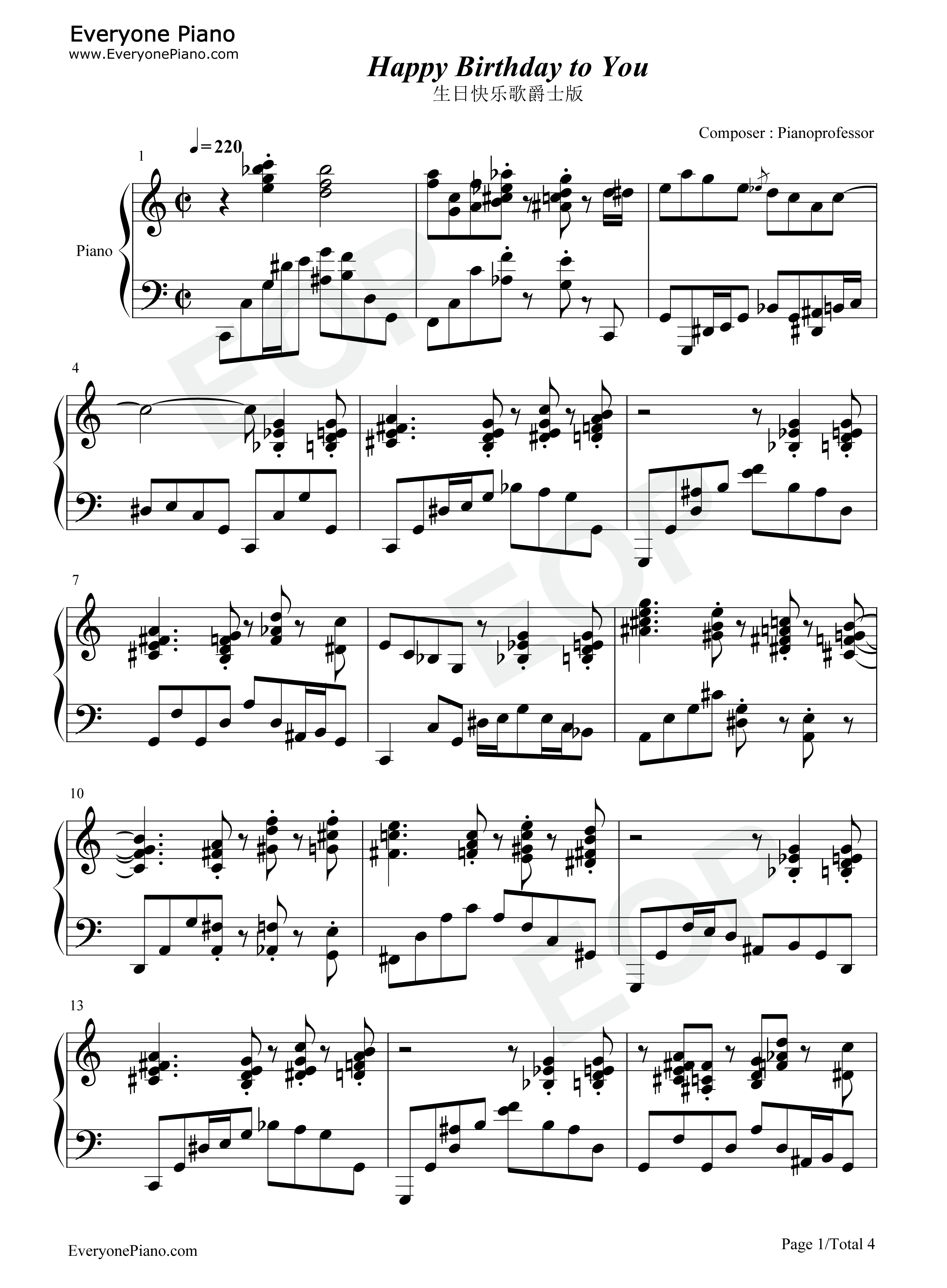 ... You-Jazz Version Stave Preview 1-Free Piano Sheet Music & Piano Chords