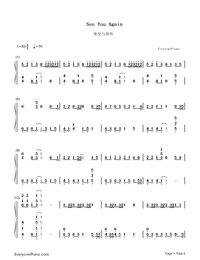 See You Again-Furious 7 Theme Numbered Musical Notation Preview 1