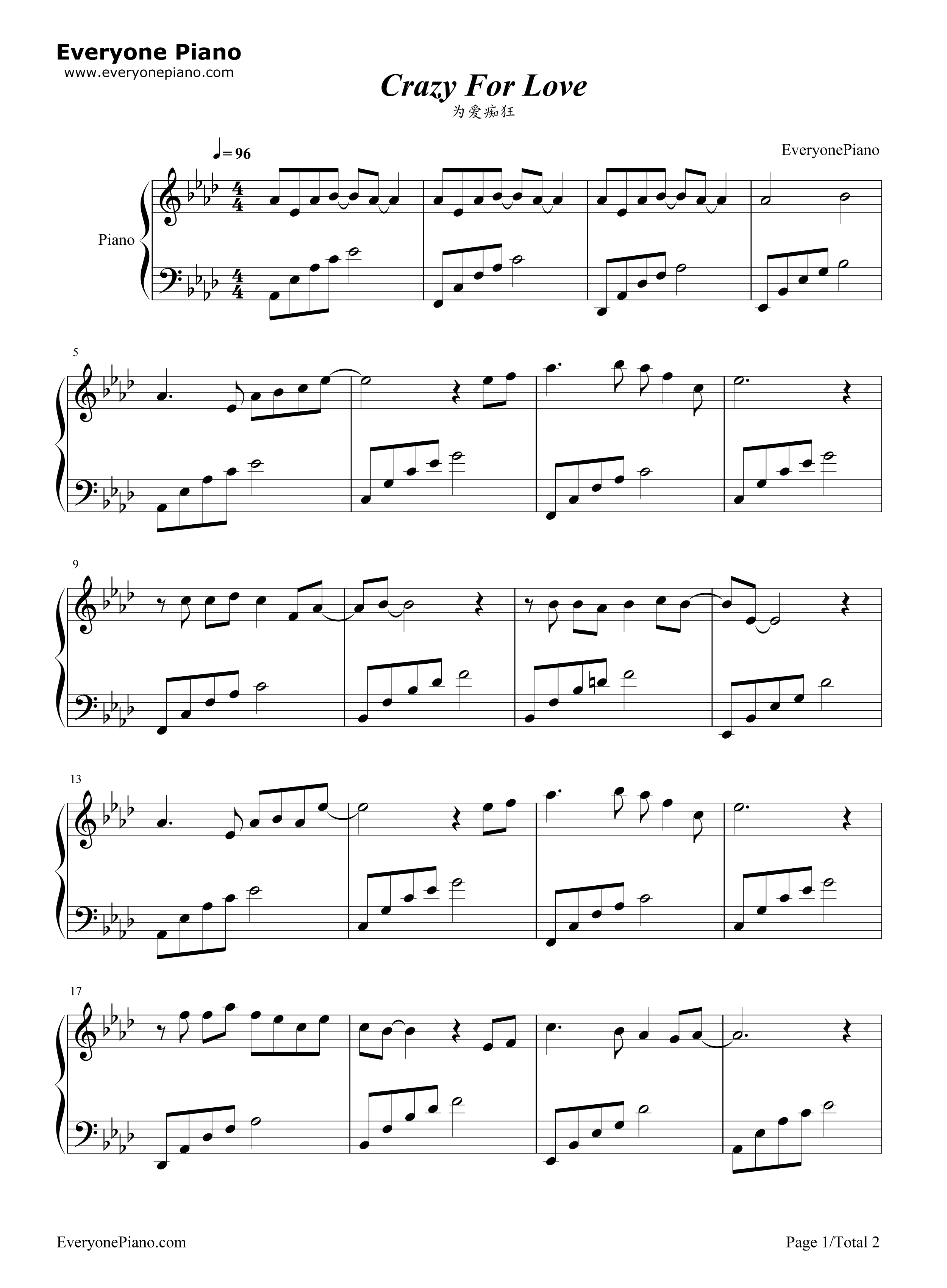 Crazy for love rene liu stave preview 1 free piano sheet music listen now print sheet crazy for love rene liu stave preview 1 hexwebz Image collections