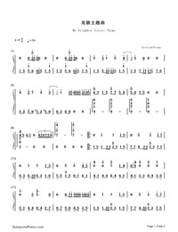 My Neighbor Totoro Theme-Numbered-Musical-Notation-Preview-1
