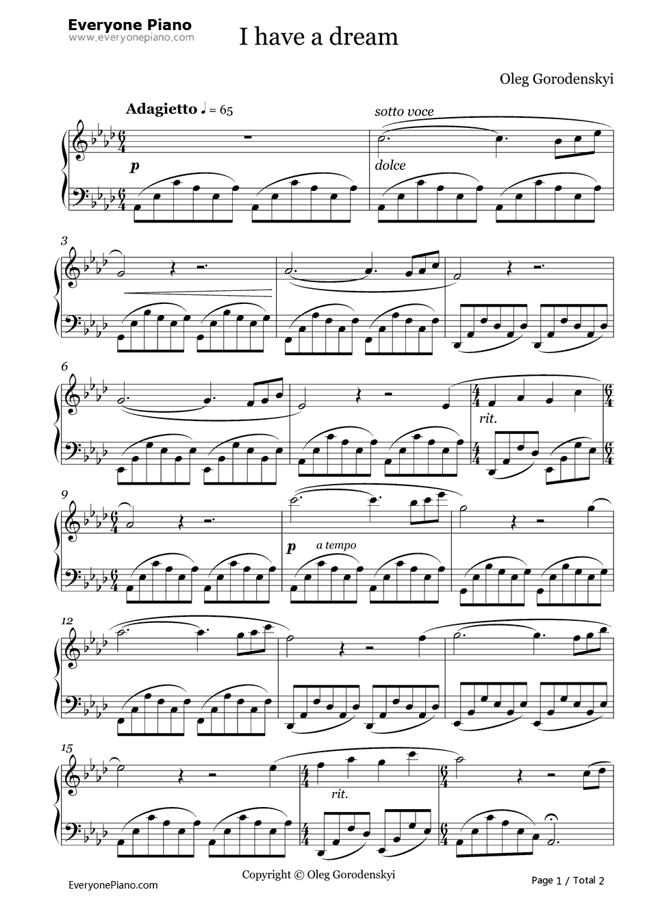 I have a dream oleg gorodenskyi stave preview 1 free piano sheet listen now print sheet i have a dream oleg gorodenskyi stave preview 1 hexwebz Image collections