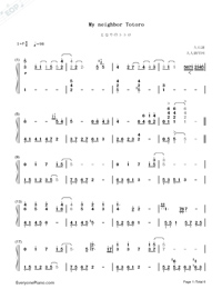 My Neighbor Totoro-Numbered-Musical-Notation-Preview-1