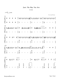 Just The Way You Are-Easy Version-Numbered-Musical-Notation-Preview-1