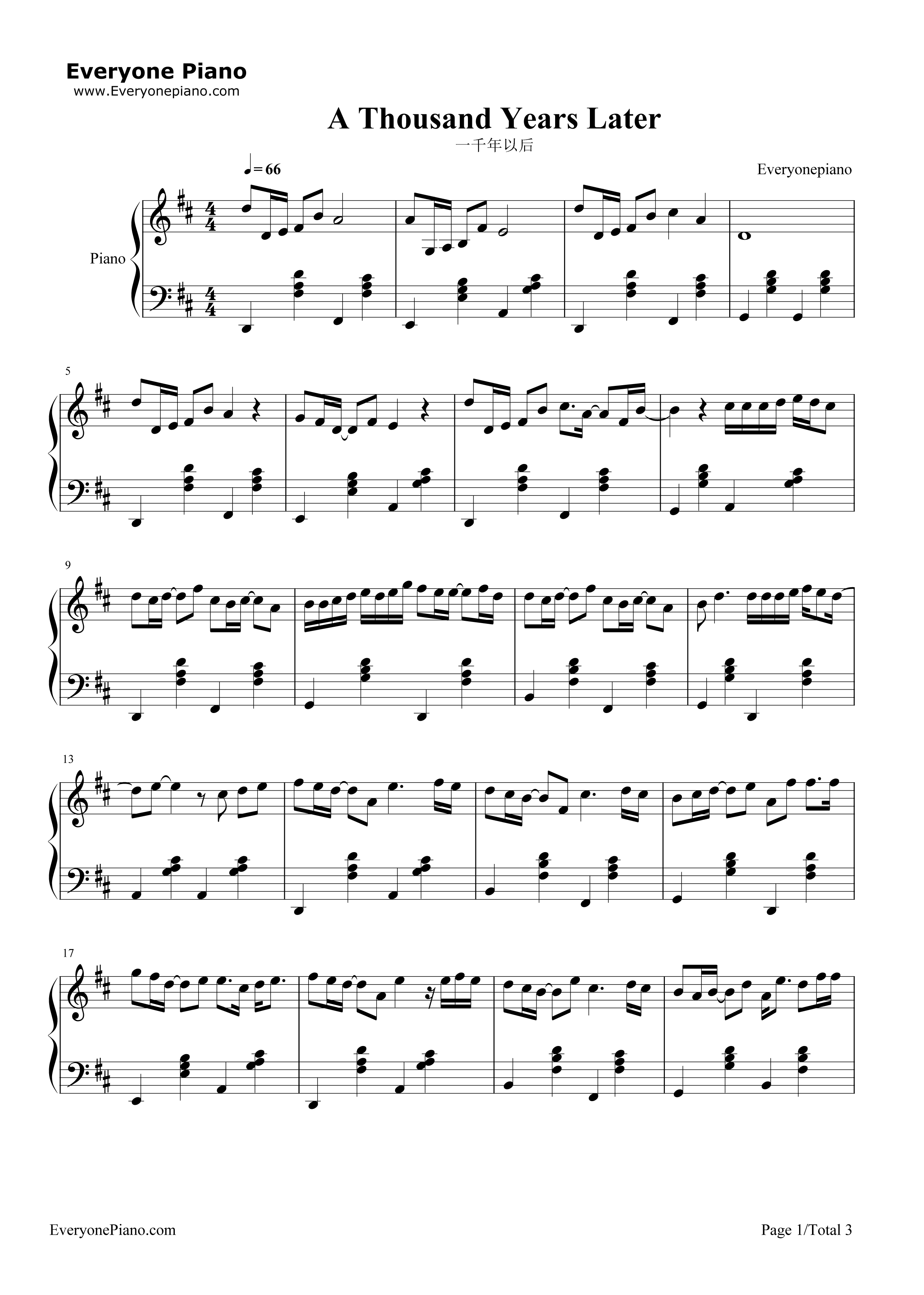 A thousand years later jj lin stave preview 1 free piano sheet listen now print sheet a thousand years later jj lin stave preview 1 hexwebz Image collections